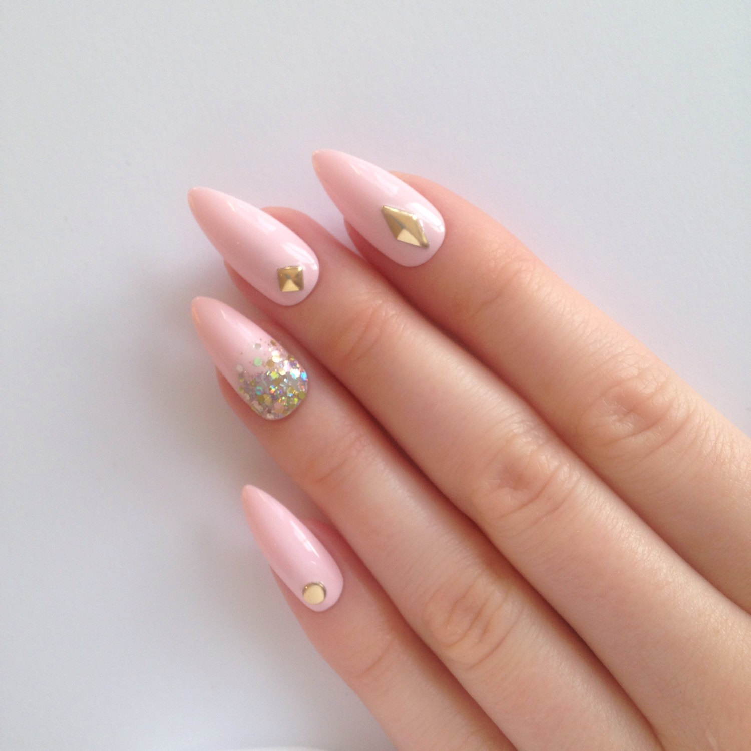 pastel pink stiletto nails photo - 2