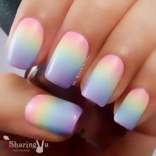 pastel rainbow acrylic nails photo - 2
