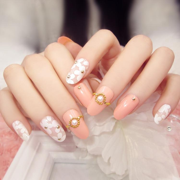 Pearl acrylic nails - Expression Nails