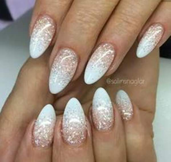 pearl tip with medium pink acrylic nails photo - 1