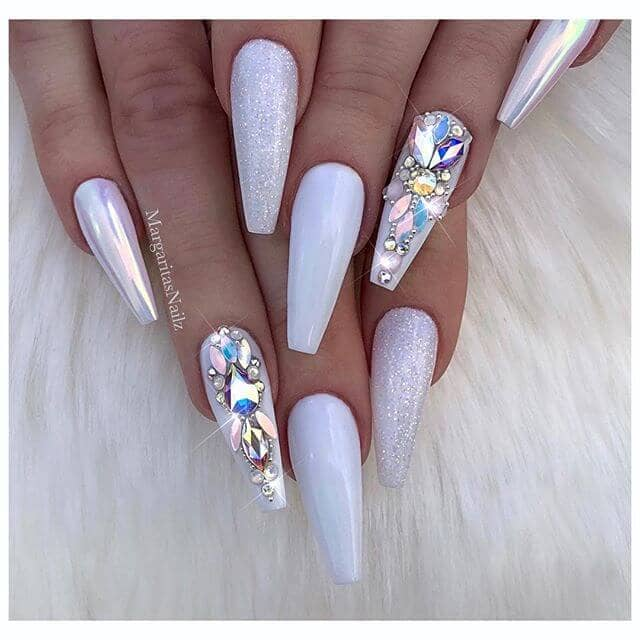 pearl tip with medium pink acrylic nails photo - 2