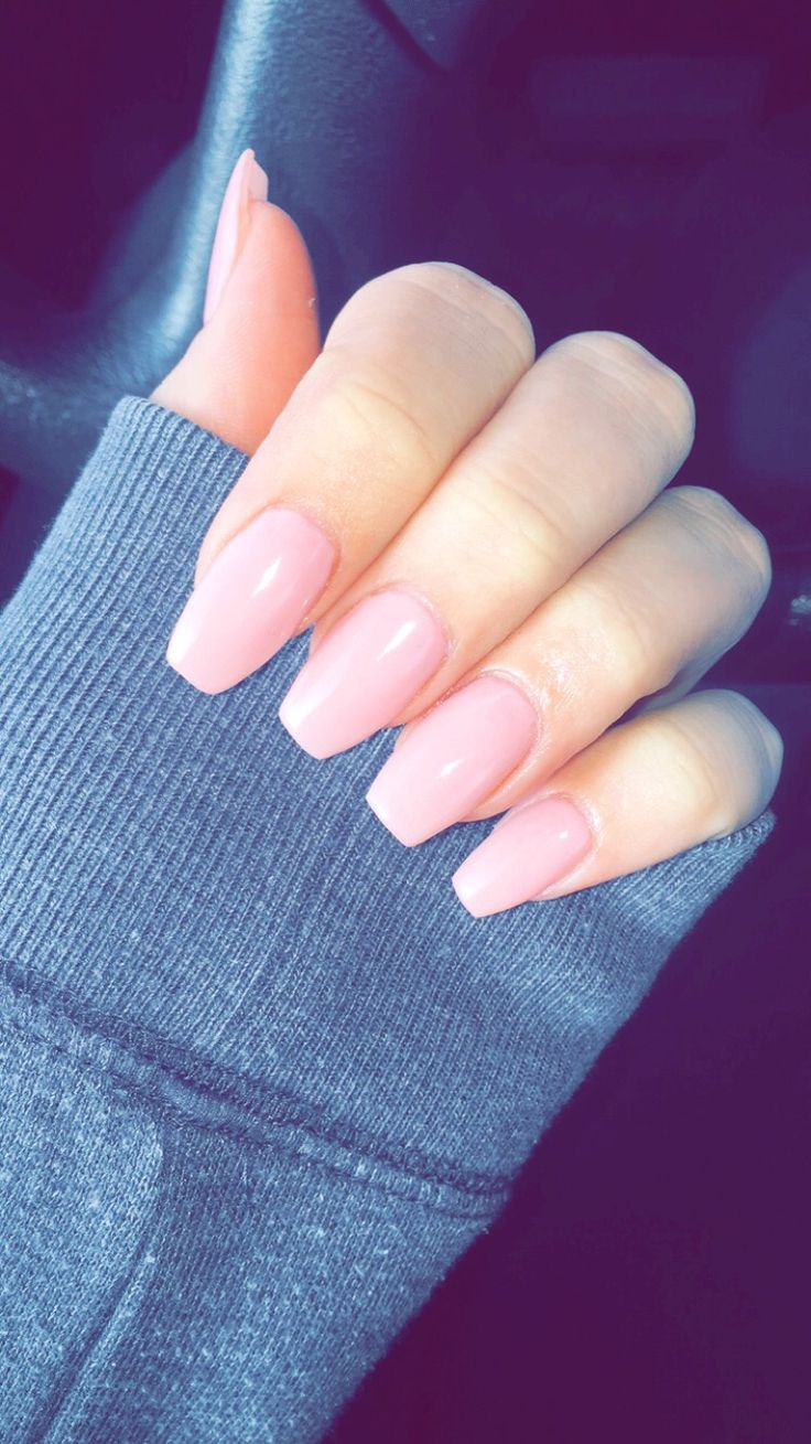 pink acrylic nails coffin photo - 2