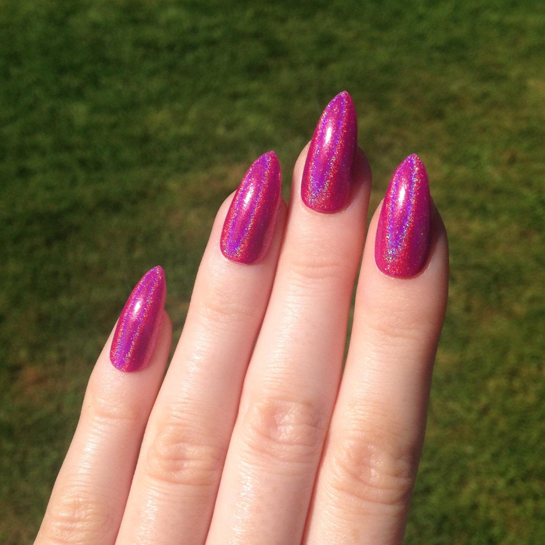 pink acrylic stiletto nails photo - 1