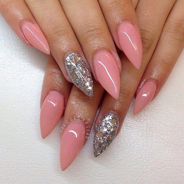 pink acrylic stiletto nails photo - 2