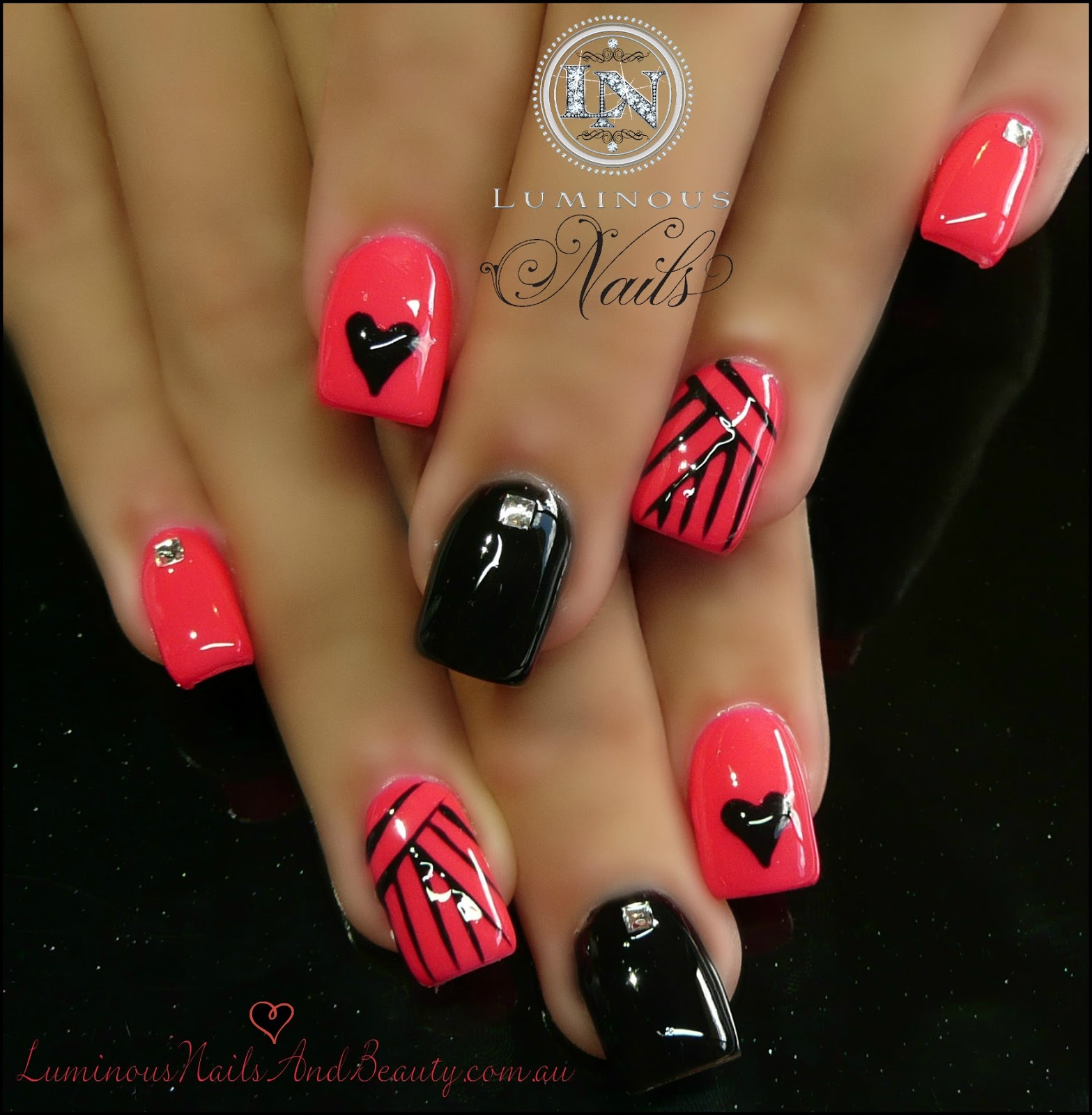 pink and black gel nails photo - 2