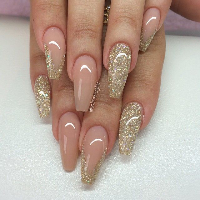 pink and gold coffin acrylic nails photo - 2