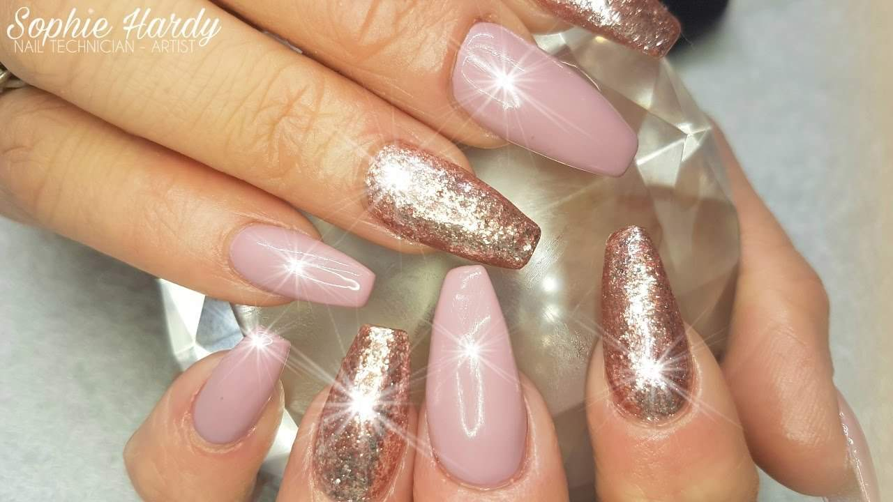 pink and gold gel nails photo - 1