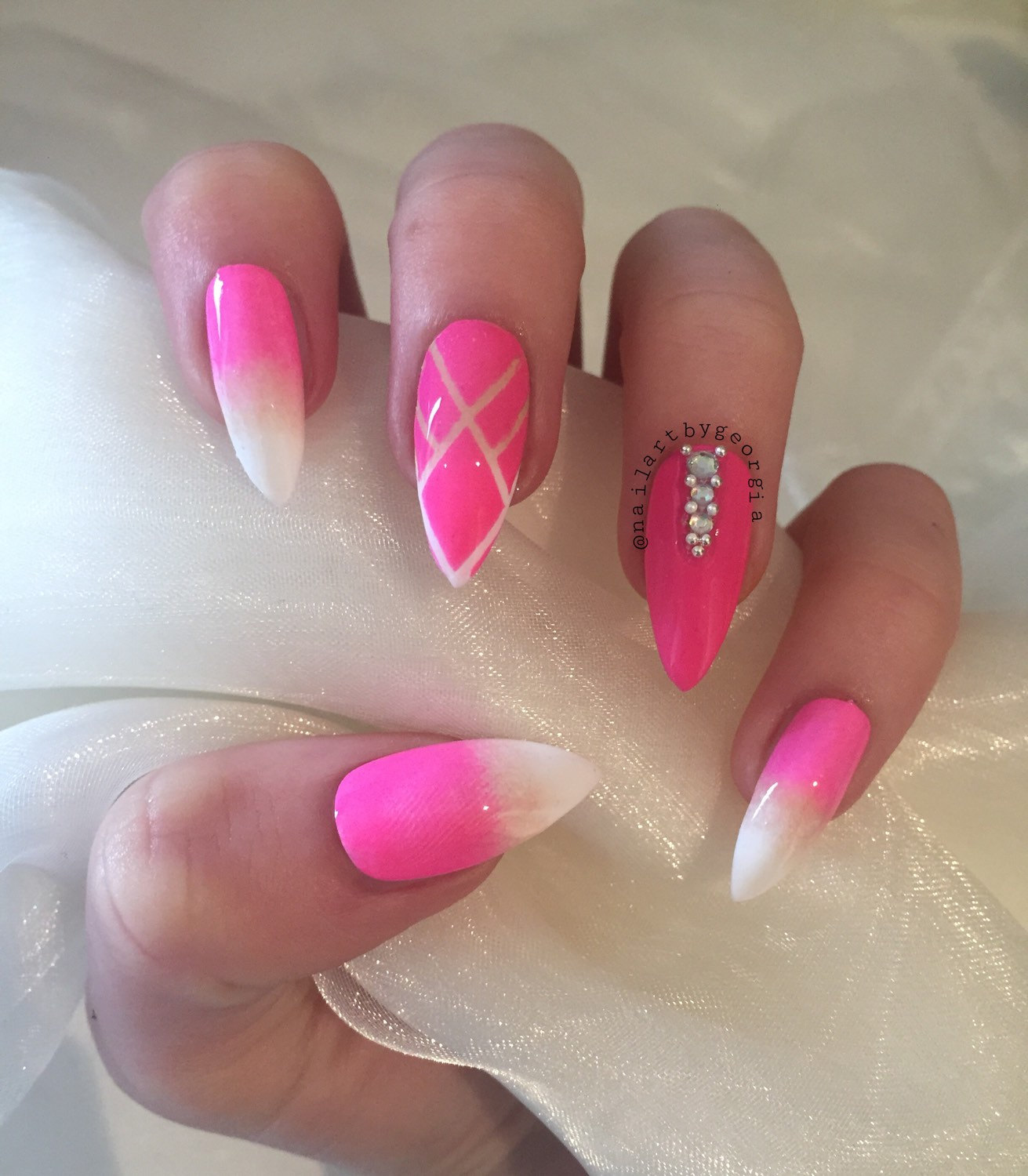 Pink and white acrylic nails - Expression Nails