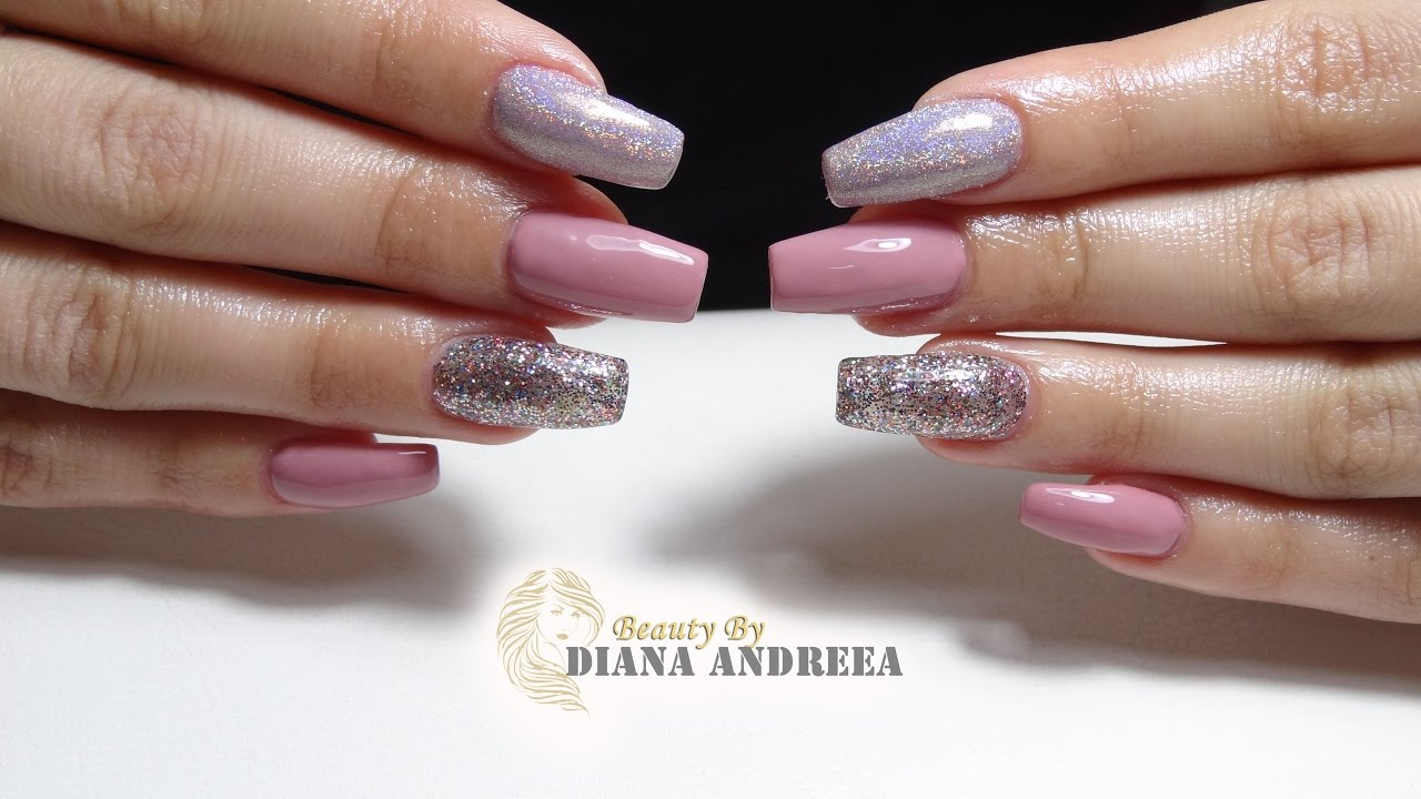 pink and white gel nails refill photo - 2