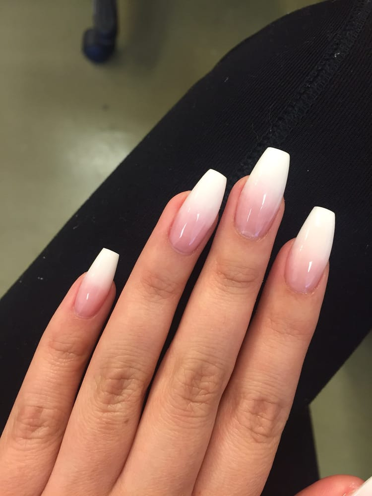 Pink and white ombre coffin nails - Expression Nails