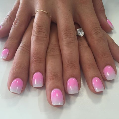 Pink and white powder acrylic nails - Expression Nails
