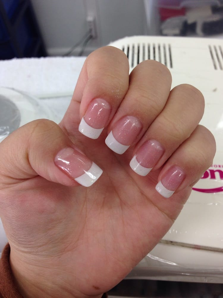 pink and white powder gel nails photo - 1