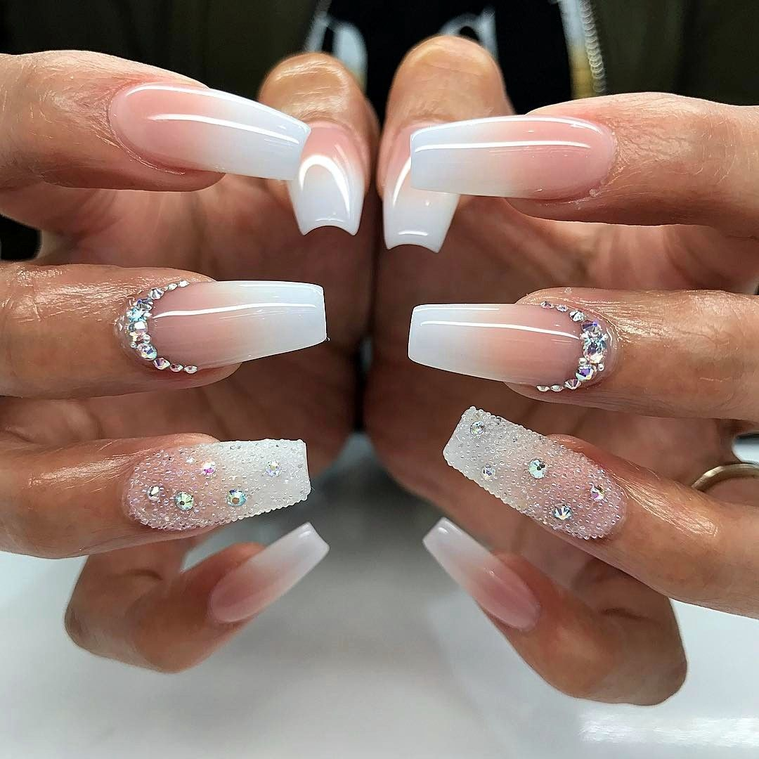 pink and white wedding coffin nails photo - 1