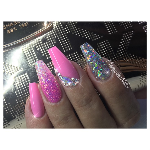 pink coffin nails with glitter photo - 2