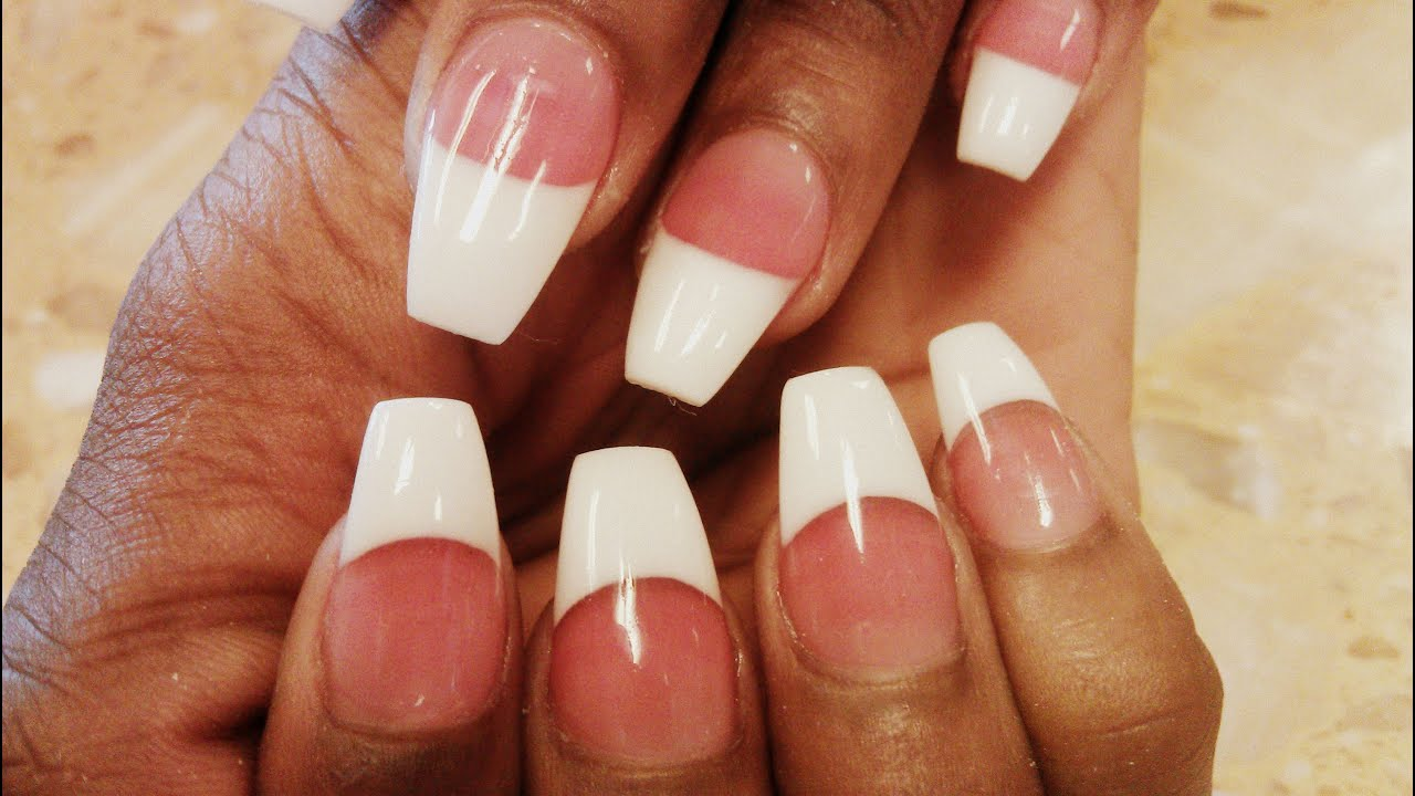 pink coffin tip acrylic nails photo - 1