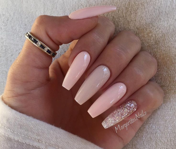 Pink nude coffin nails - Expression Nails