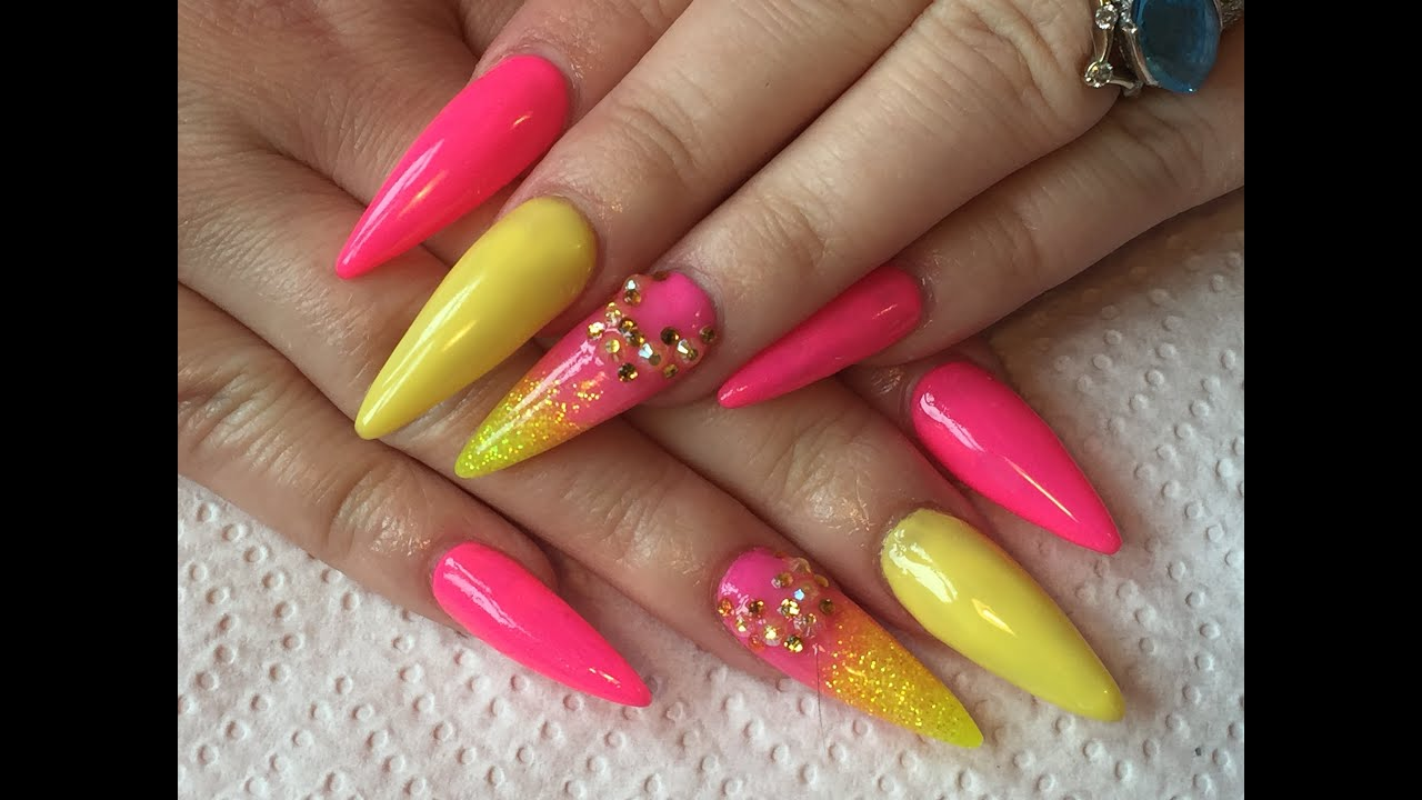 pink ombre stiletto nails photo - 1