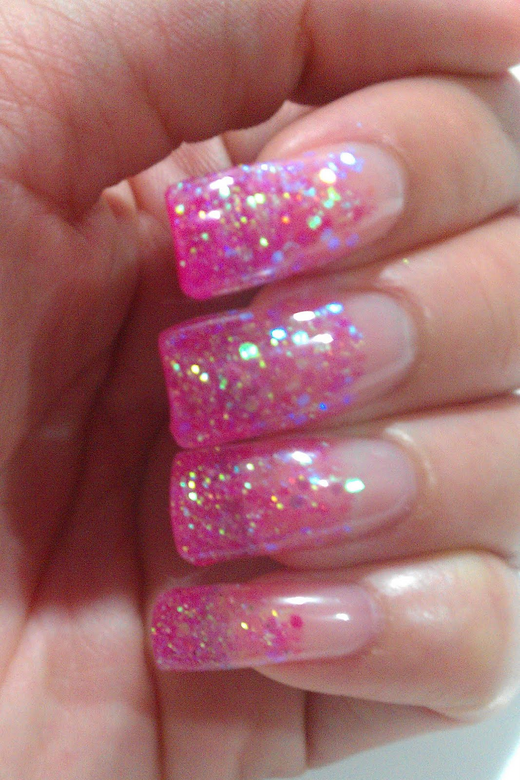 pink sparkly gel nails photo - 1