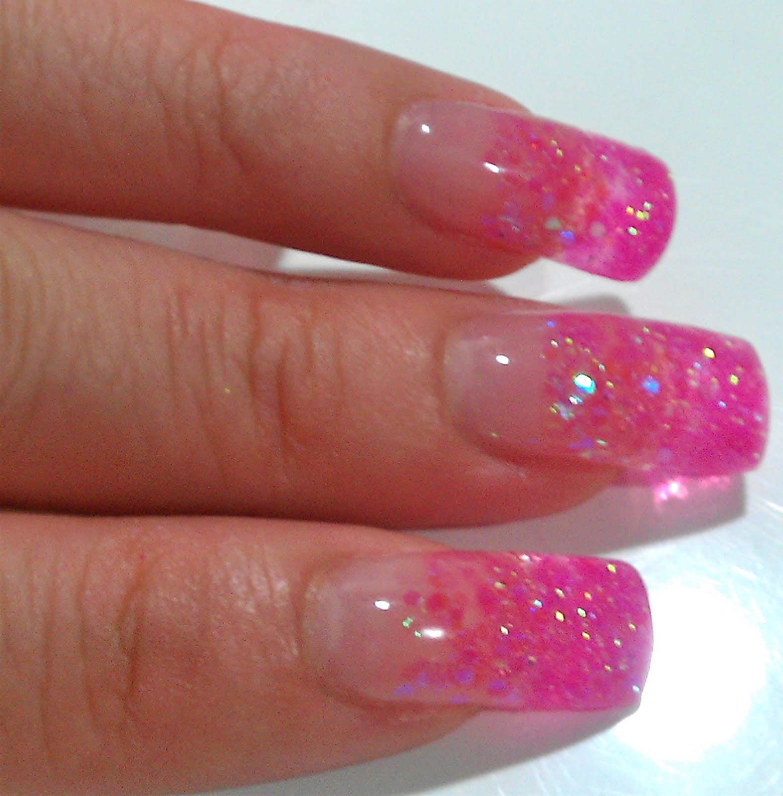 pink sparkly gel nails photo - 2