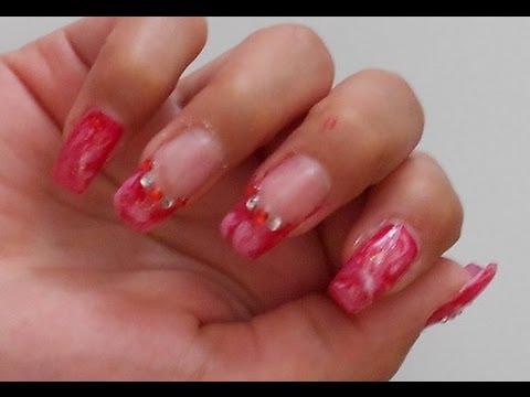 powder gel nails marble effect photo - 1