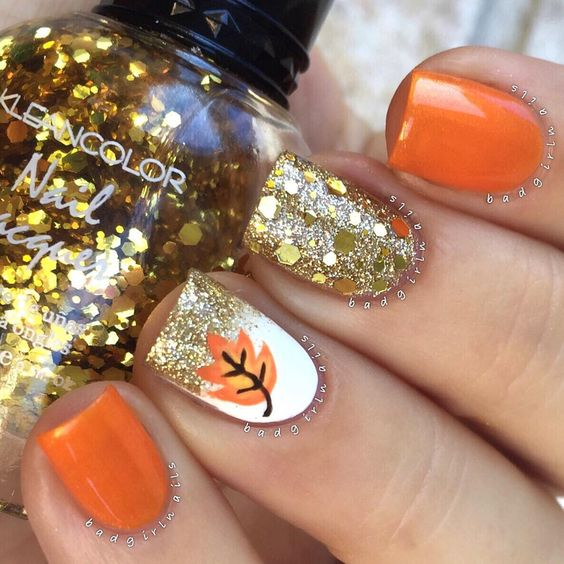 pretty gel nails for fall photo - 1