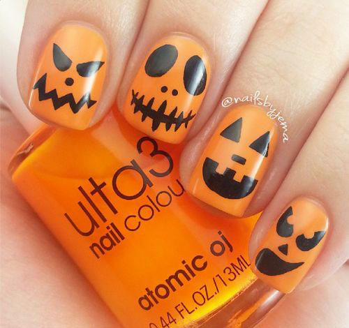 pumpkin nail designs color acrylic nails photo - 2