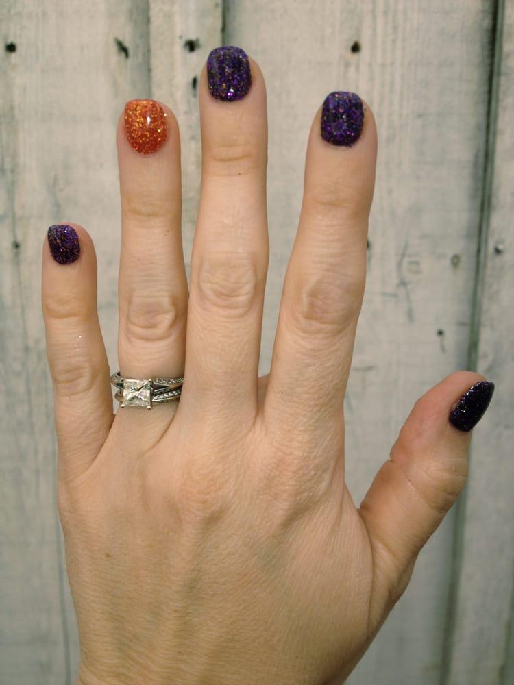 purple and orange halloween gel nails photo - 1