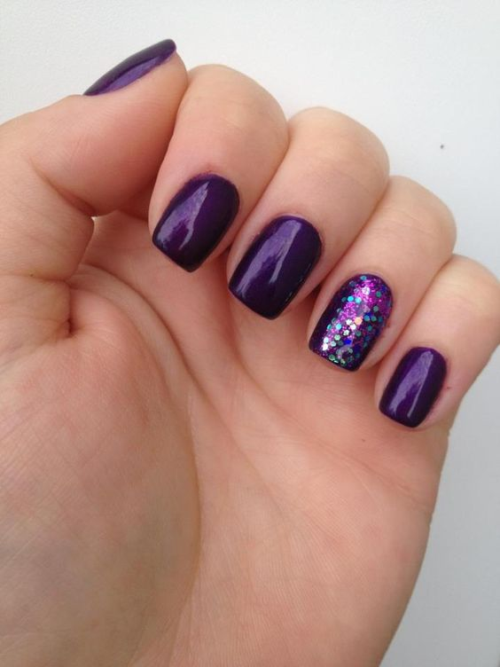 Purple Christmas Gel Nails New Expression Nails