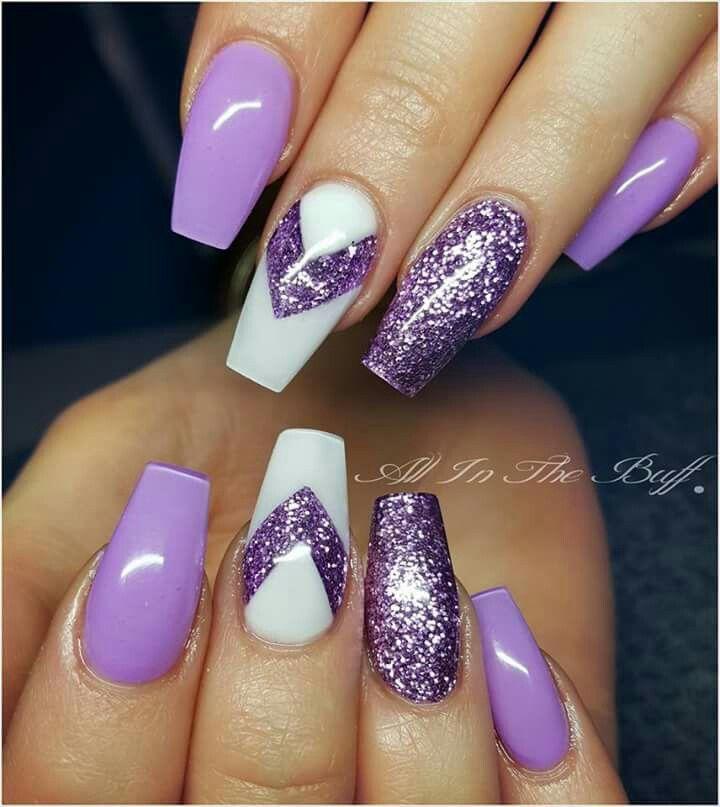 purple coffin glitter shaped acrylic nails photo - 1