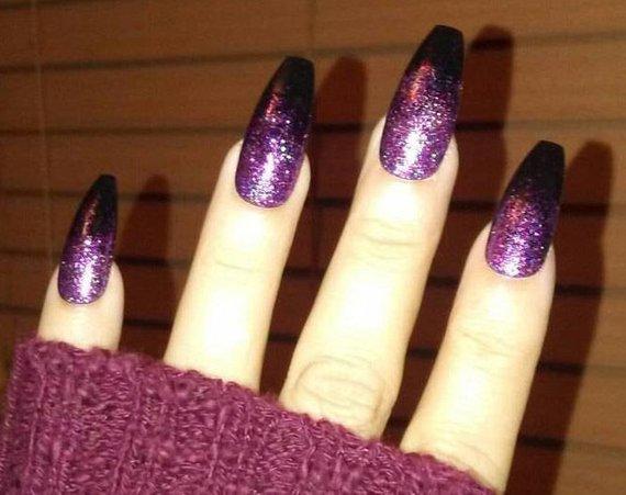 purple coffin glitter shaped acrylic nails photo - 2