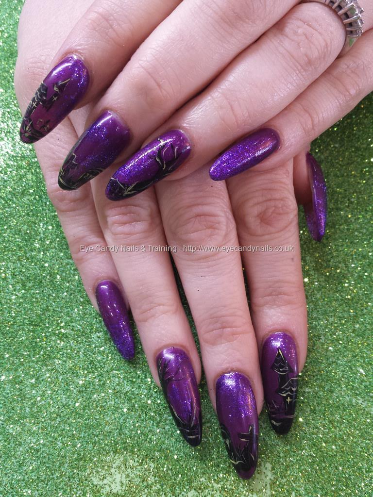 purple halloween gel nails photo - 1