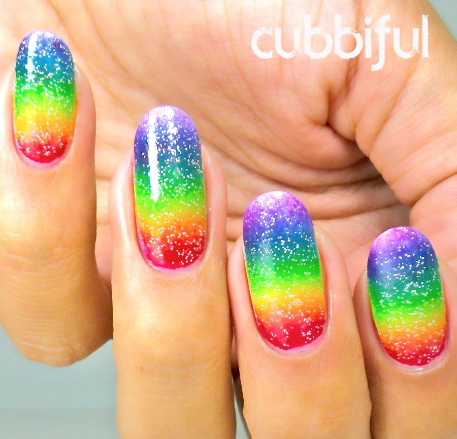 rainbow glitter acrylic nails photo - 1