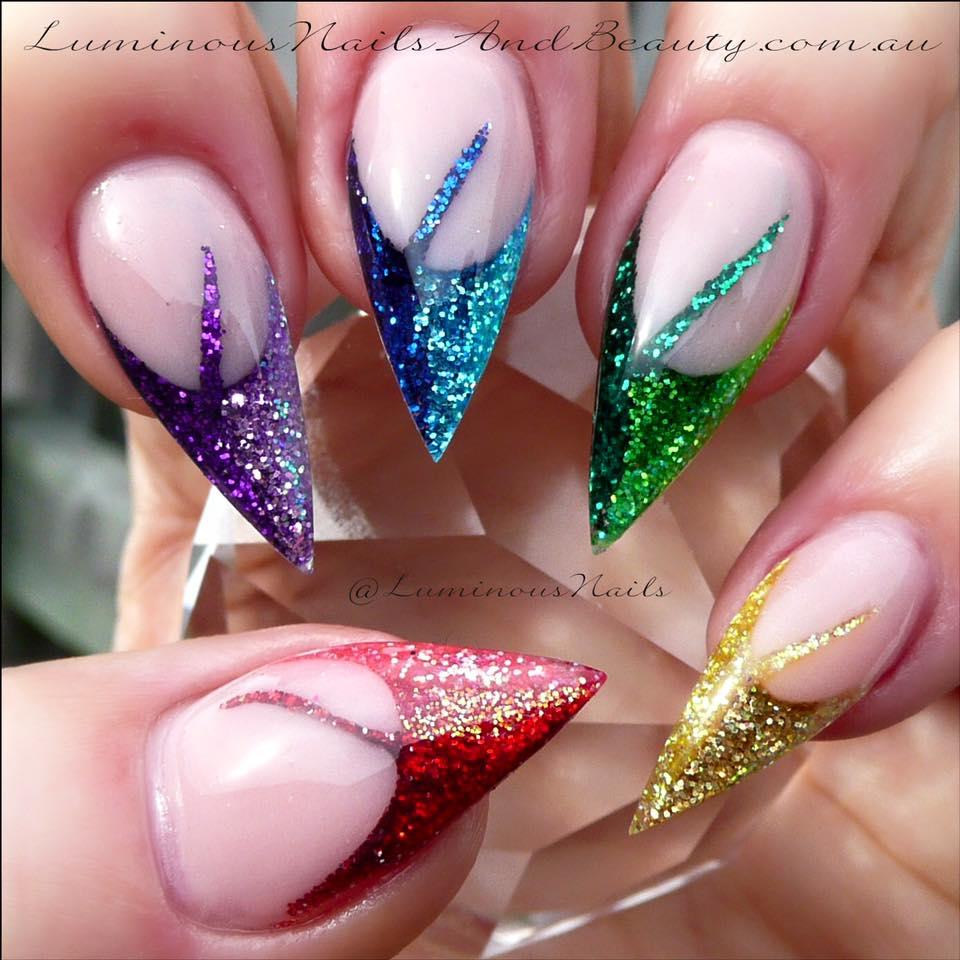 rainbow glitter acrylic nails photo - 2