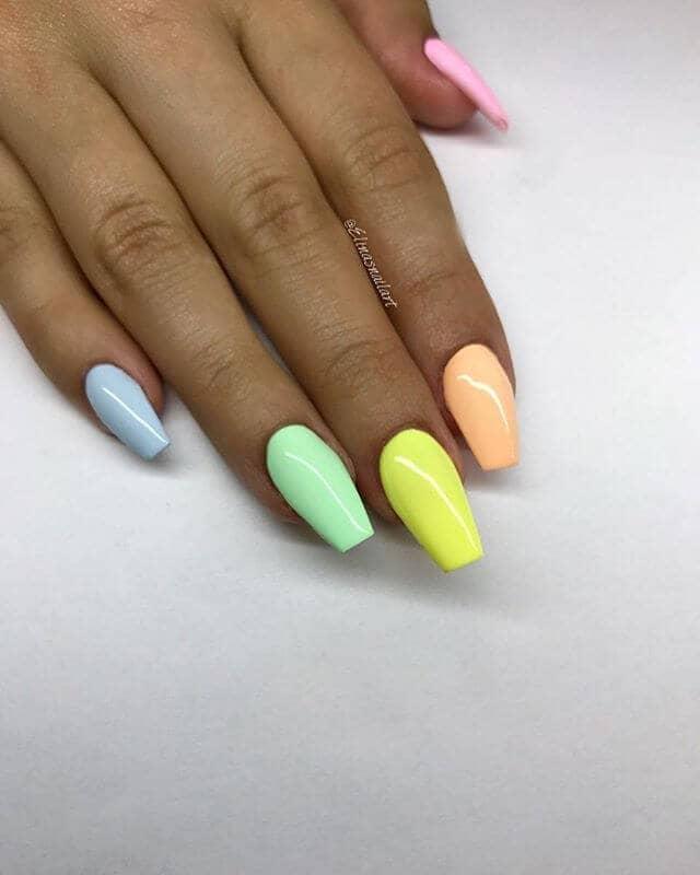 rainbow nails coffin photo - 1