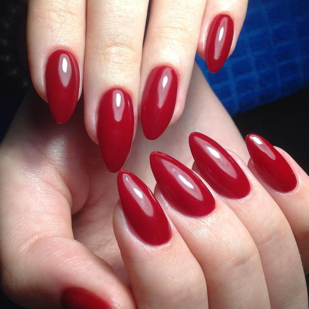 Red Almond Acrylic Nails Nail And Manicure Trends