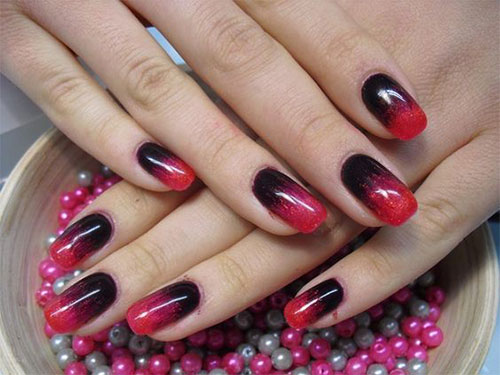 red and black gel nails photo - 2
