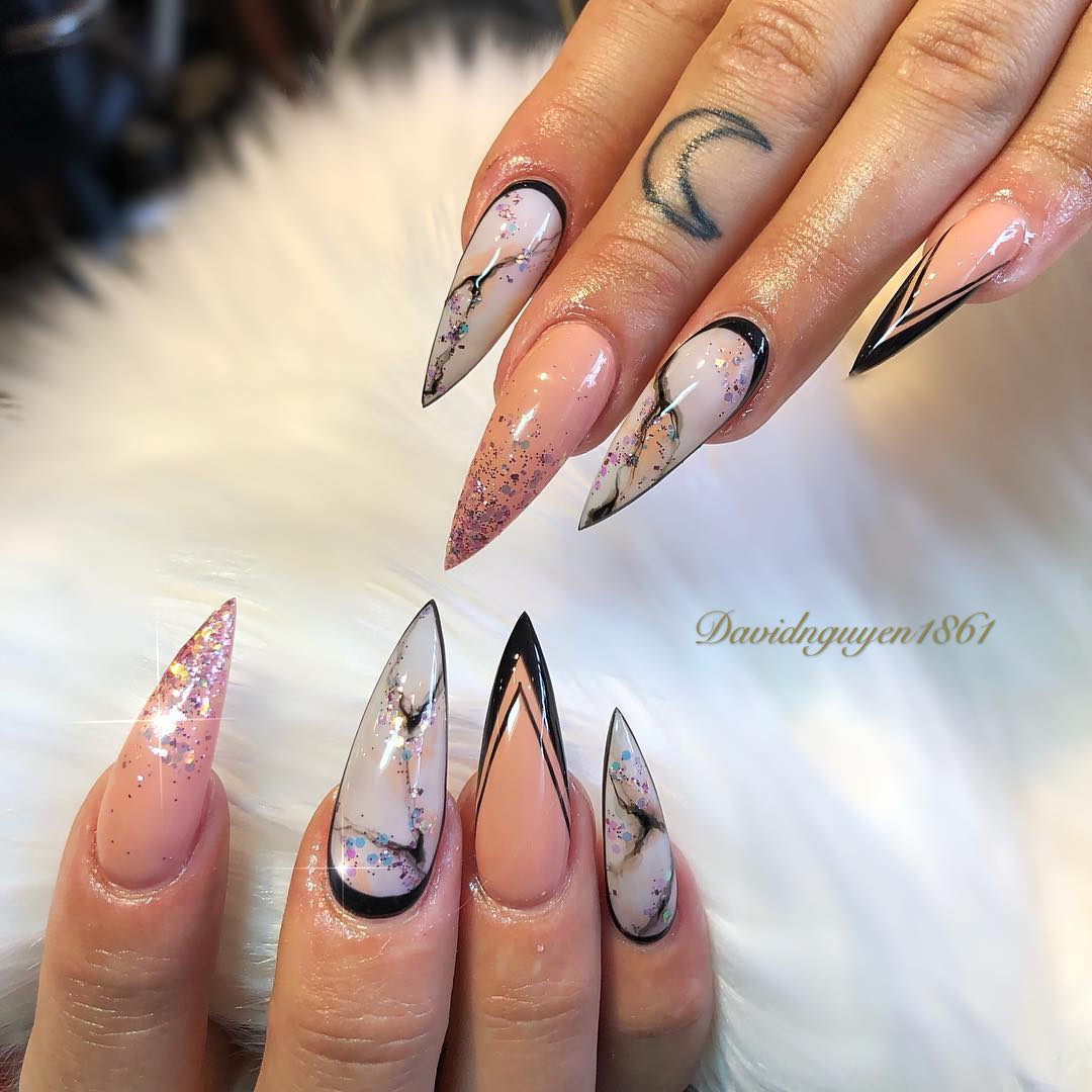 red and black stiletto nails photo - 2
