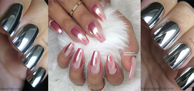 Red and silver acrylic nails - Expression Nails