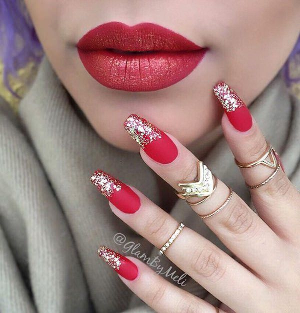 Red and white coffin nails - Expression Nails