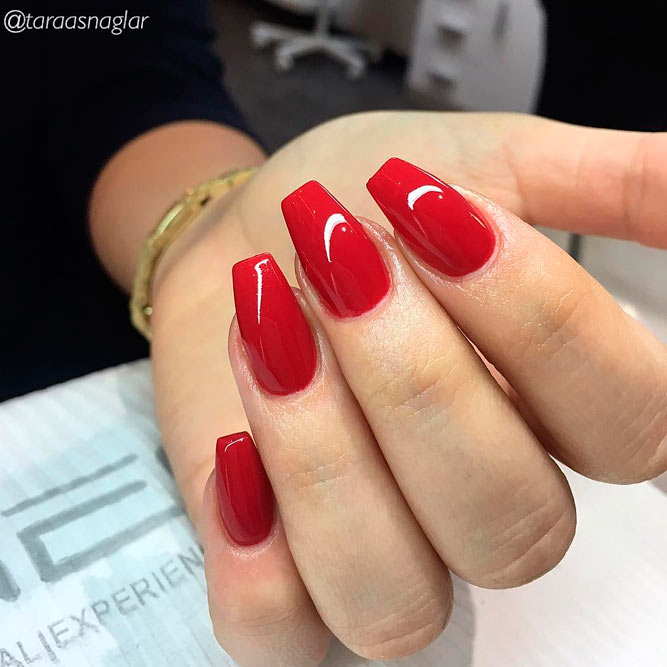 Red Coffin Acrylic Nails Expression Nails
