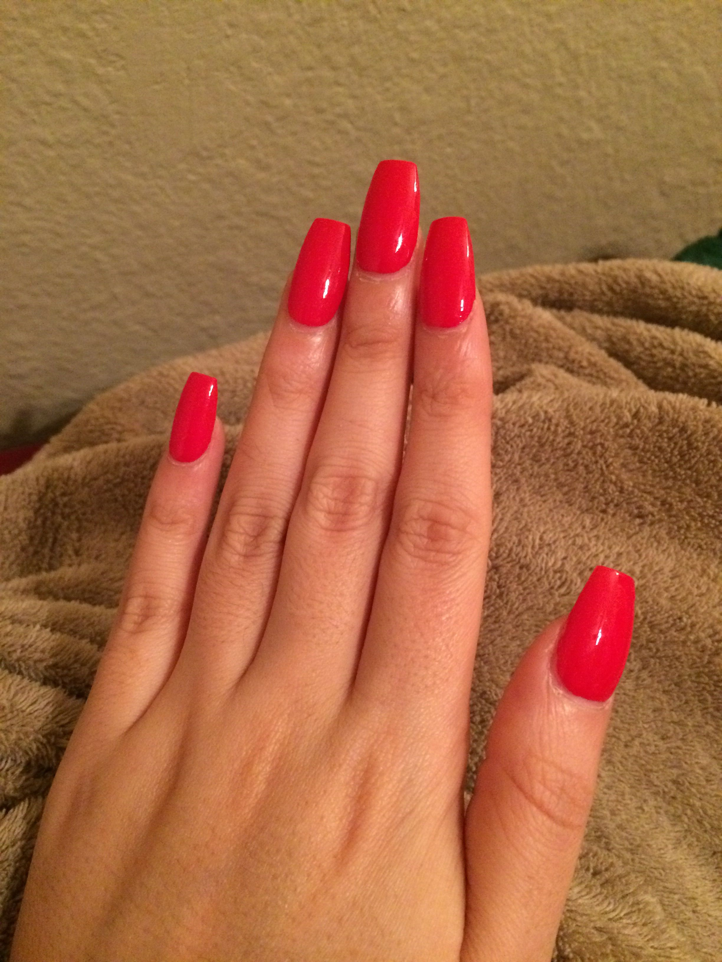 Red coffin acrylic nails - New Expression Nails