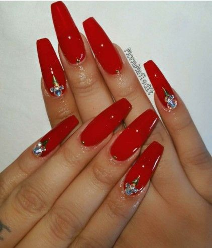 red coffin acrylic nails with rhinestones photo - 2