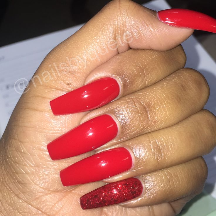 red coffin shaped nails photo - 2