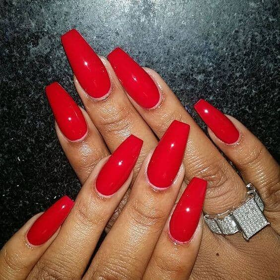 red nails coffin photo - 2