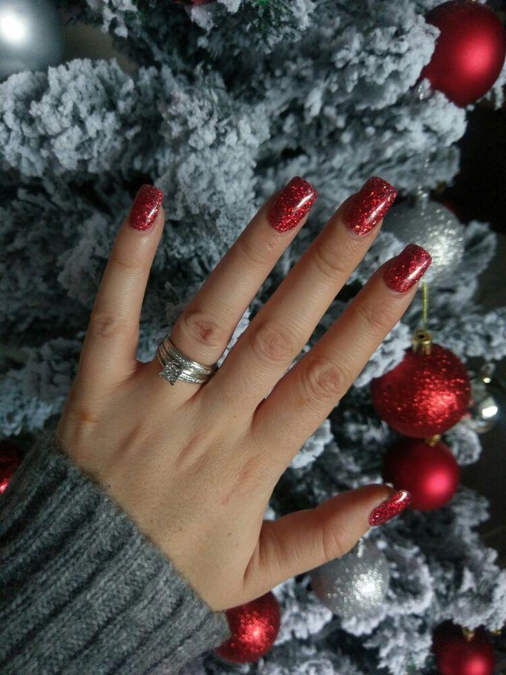 red nails sparkle stiletto accent photo - 1