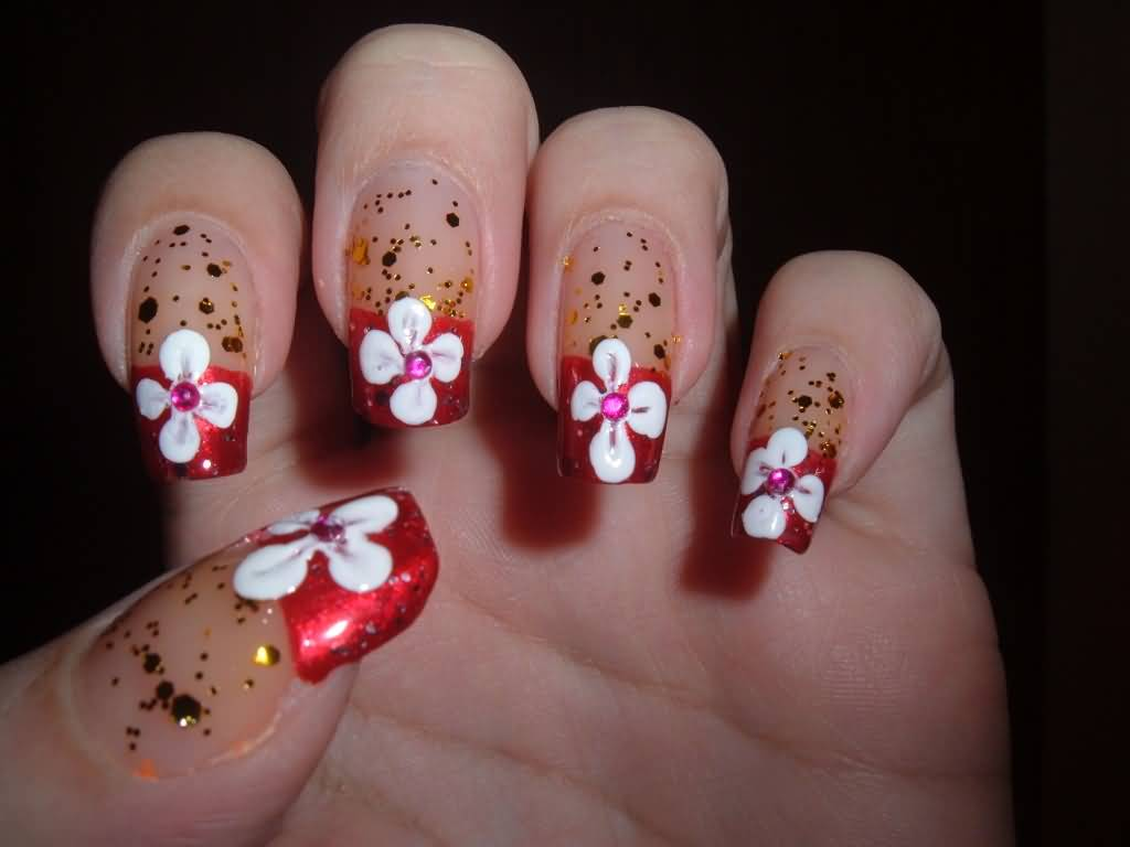 red tip acrylic nails with rhinestones photo - 1