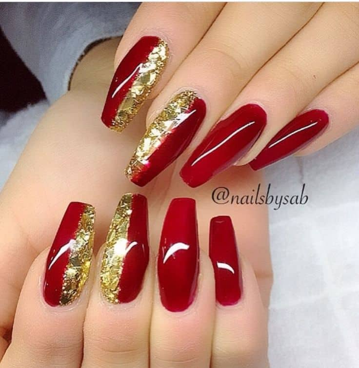 red white and gold coffin nails photo - 1