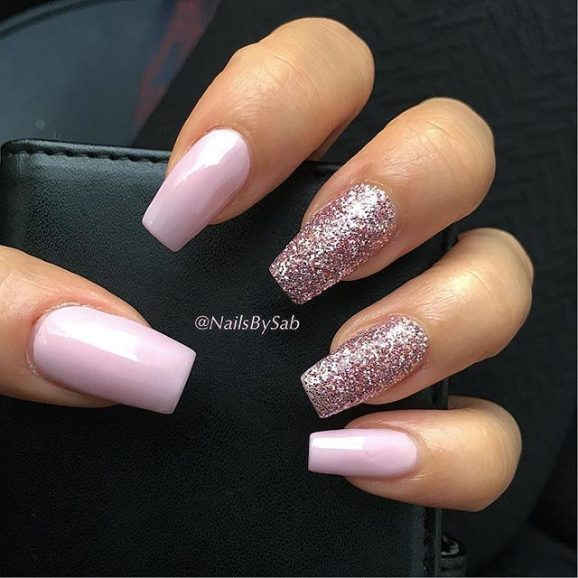 rose gold blue acrylic nails coffin photo - 2