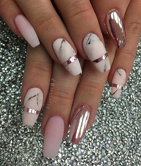 rose gold coffin nails photo - 2
