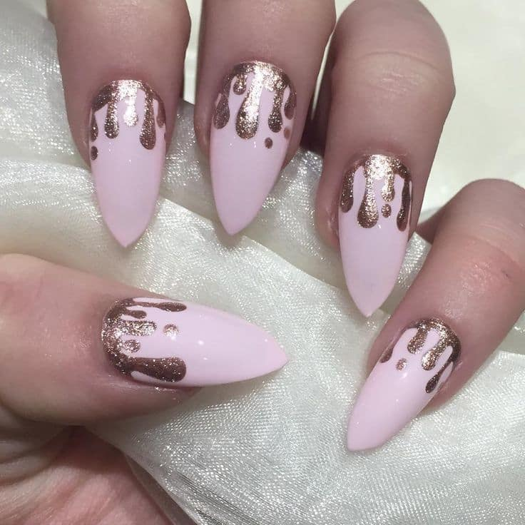 Rose gold kylie jenner coffin nails , New Expression Nails